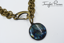"Load image into Gallery viewer, 18"" Round Labradorite Antique Gold Matte Chain Necklace"