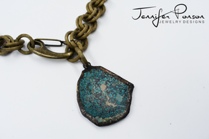 "18"" Turquoise Antique Gold Matte Chain Necklace"
