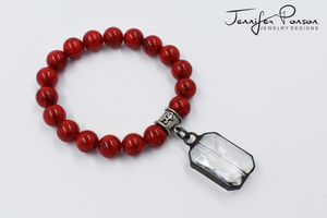 Magnesite Bracelet with Crystal Charm