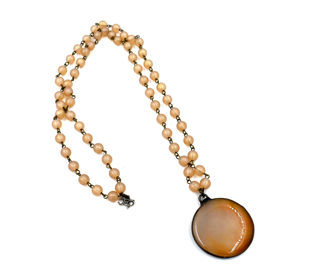 Matte Finish Peach Colored Bead with Agate Pendant