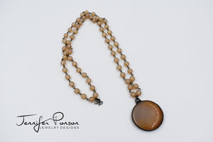 Matte Finish Bead with Agate Necklace
