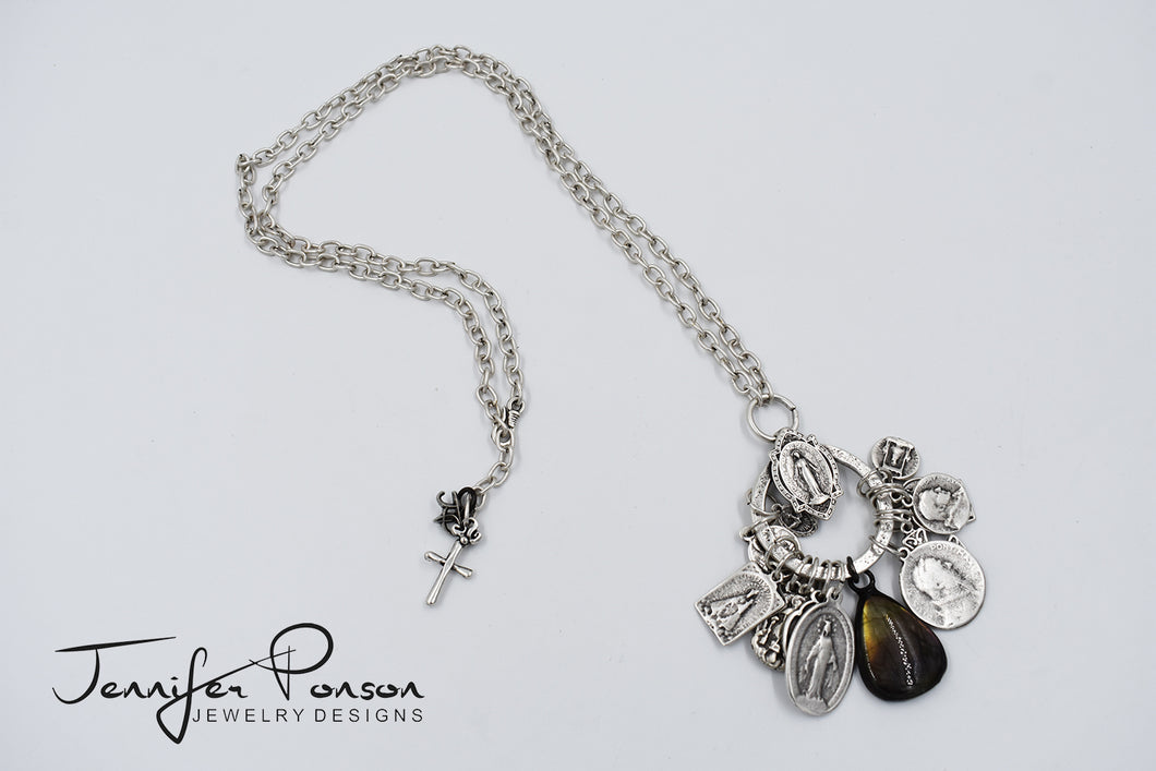 Religious Medal Charm Necklace with Purple Labradorite