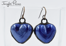 Load image into Gallery viewer, Dark Blue Heart Earrings