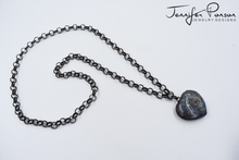 Load image into Gallery viewer, 36'' Rolo Gunmetal Chain Necklace with Heart Shaped Labradorite Pendant