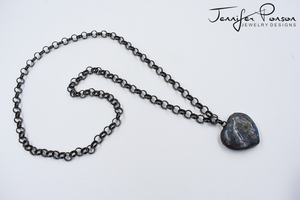 36'' Rolo Gunmetal Chain Necklace with Heart Shaped Labradorite Pendant