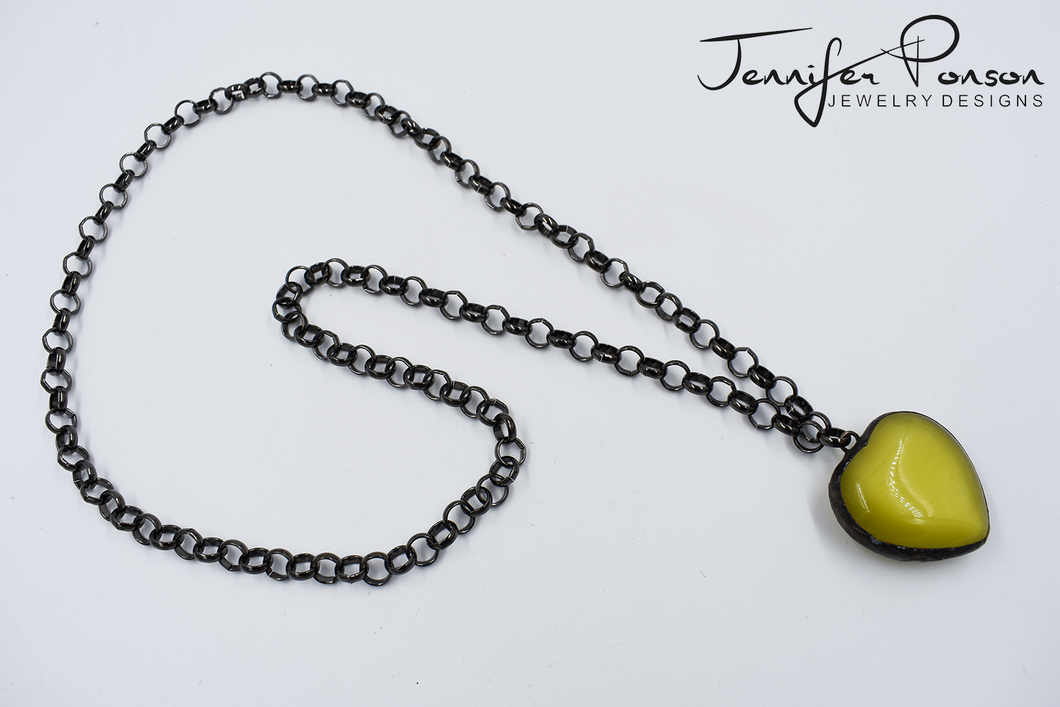36'' Rolo Gunmetal Chain Necklace with Heart Shaped Yellow Tigers Eye Pendant