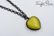 Load image into Gallery viewer, 36'' Rolo Gunmetal Chain Necklace with Heart Shaped Yellow Tigers Eye Pendant