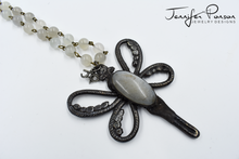 Load image into Gallery viewer, Moonstone Beaded Necklace with Moonstone Dragonfly Pendant