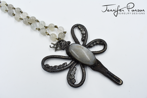 Moonstone Beaded Necklace with Moonstone Dragonfly Pendant