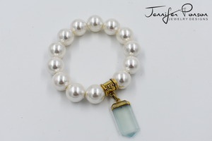 Pearl Bracelet with Green Chalcedony Charm