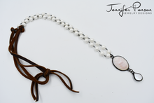 Load image into Gallery viewer, Pearl Beaded Necklace with Mother of Pearl Pendant and Pearl Drop