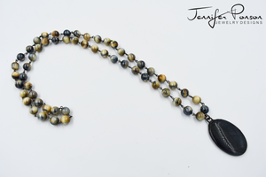 Tiger's Eye Beaded Necklace and Pendant