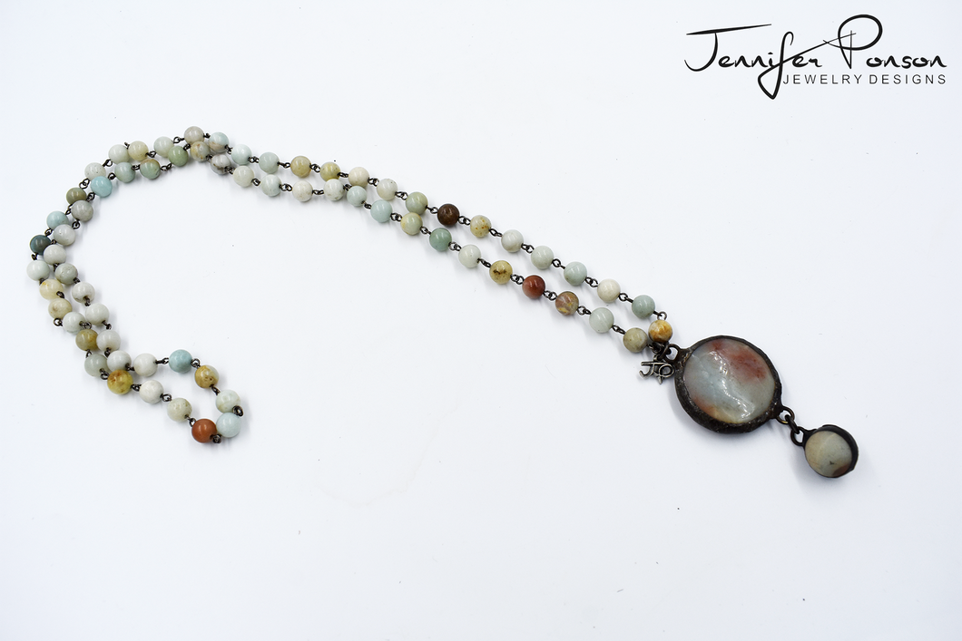 Amazonite Beaded Necklace, Pendant and Drop