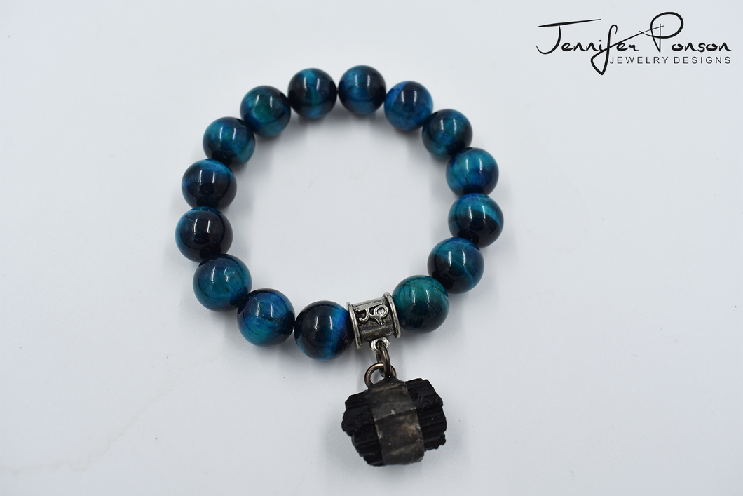 Teal Tiger's Eye Bracelet with Tourmaline Pendant