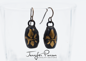 Fleur de Lis Oval Earrings