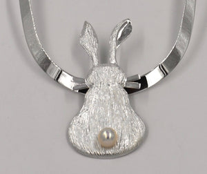 Sterling Silver Bunny Pendant with Pearl Tail