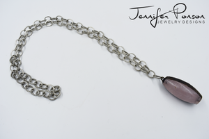 Chain Necklace with Large Rose Quartz Pendant