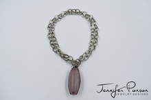 Load image into Gallery viewer, Chain Necklace with Large Rose Quartz Pendant