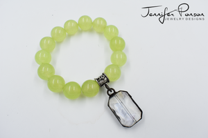 Jade and Crystal Pendant Bracelet