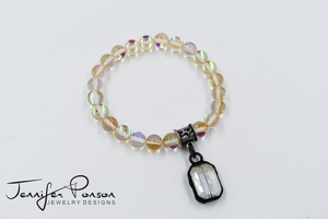 Yellow Aura Beaded Bracelet with Crystal Pendant