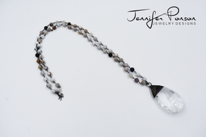 Dendritic Agate Necklace with Chandelier Pendant