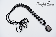 Load image into Gallery viewer, Shungite Beaded Necklace with Hyperstone Pendant