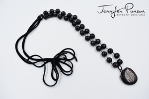 Shungite Beaded Necklace with Hyperstone Pendant