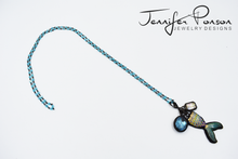 Load image into Gallery viewer, Aquamarine Beaded Necklace with Crystal and Mermaid Pendant
