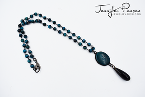 Blue Tiger Eye Beaded Necklace with Blue Agate and Obsidian Pendant