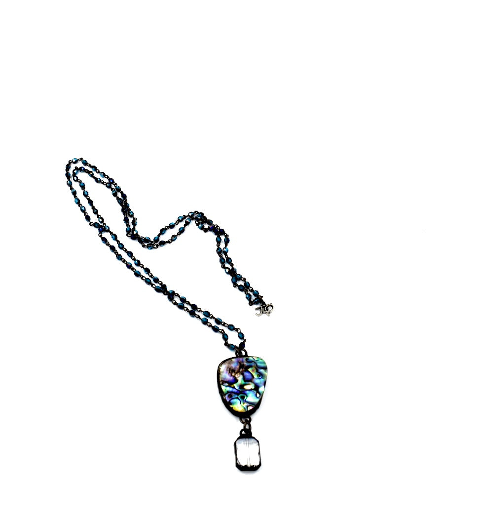 Blue Aura Necklace with Abalone and Crystal Pendant