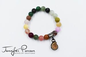 Multi Semi Precious Stone Bracelet with Ammonite Pendant