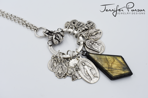 Religious Medal Charm Necklace with Labradorite Pendant
