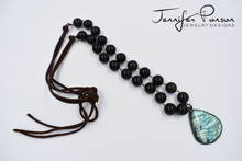 Load image into Gallery viewer, Smokey Quartz Beaded and Leather Necklace with Labradorite Pendant