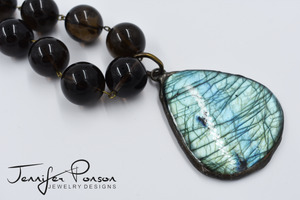Smokey Quartz Beaded and Leather Necklace with Labradorite Pendant