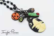 Load image into Gallery viewer, Black Onyx Beaded Necklace with Halloween Bundle