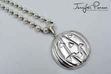Load image into Gallery viewer, Sterling Silver Jack O'Lantern Pendant with Pearl Necklace