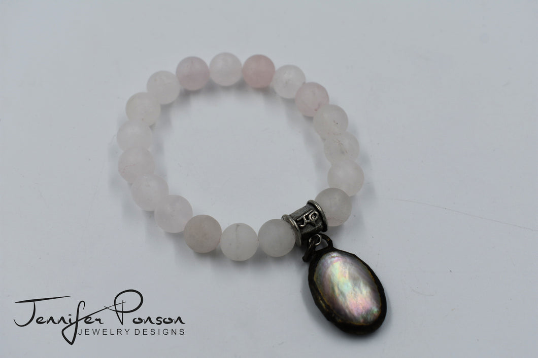 Matte Rose Quartz Bracelet with Mother of Pearl Drop