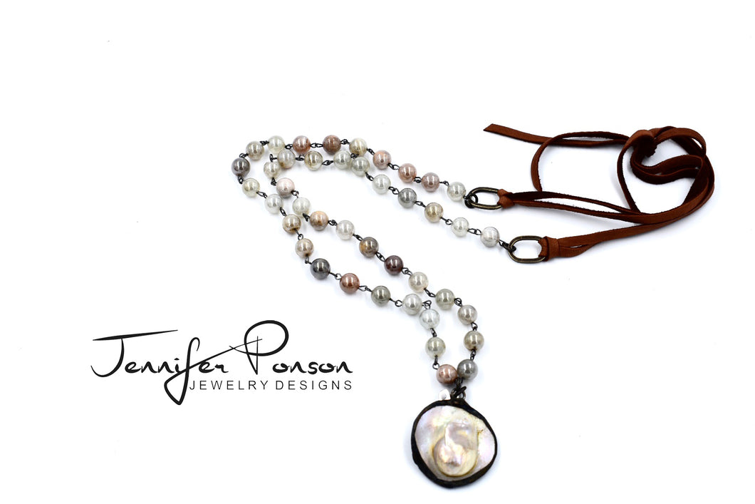 Moonstone Necklace with Blister Pearl Pendant