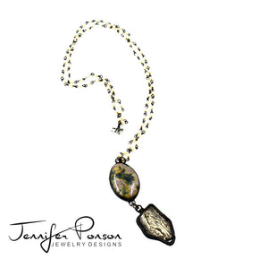 Pearl Necklace with Jasper and Mary Pendant