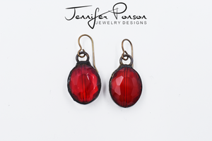 Red Crystal Oval Earrings
