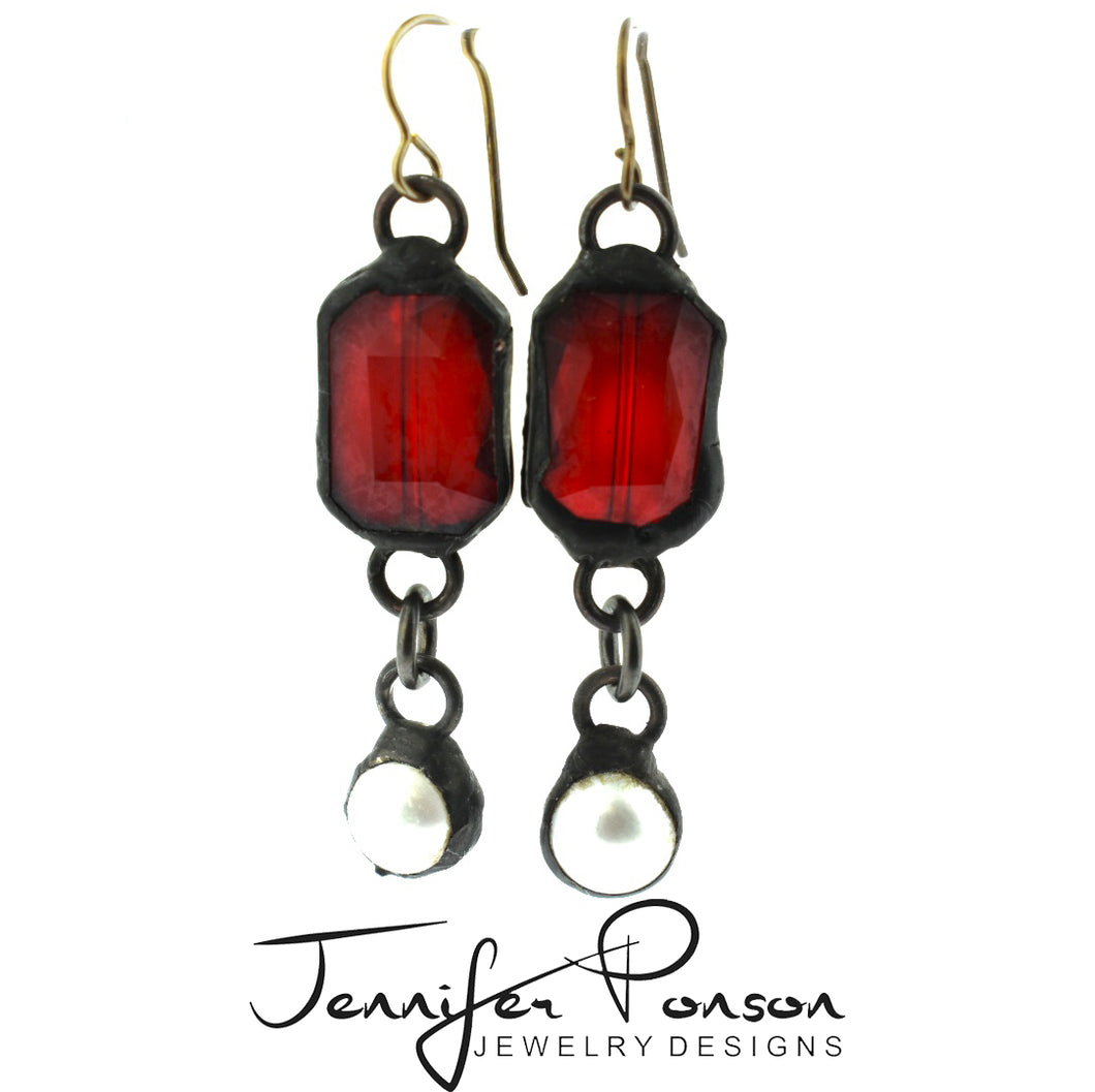 Red Crystal with Pearl Drop Earrings