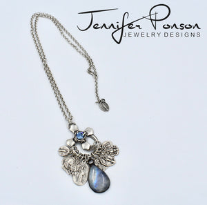 Religious Medal Charm with Moonstone Pendant Necklace