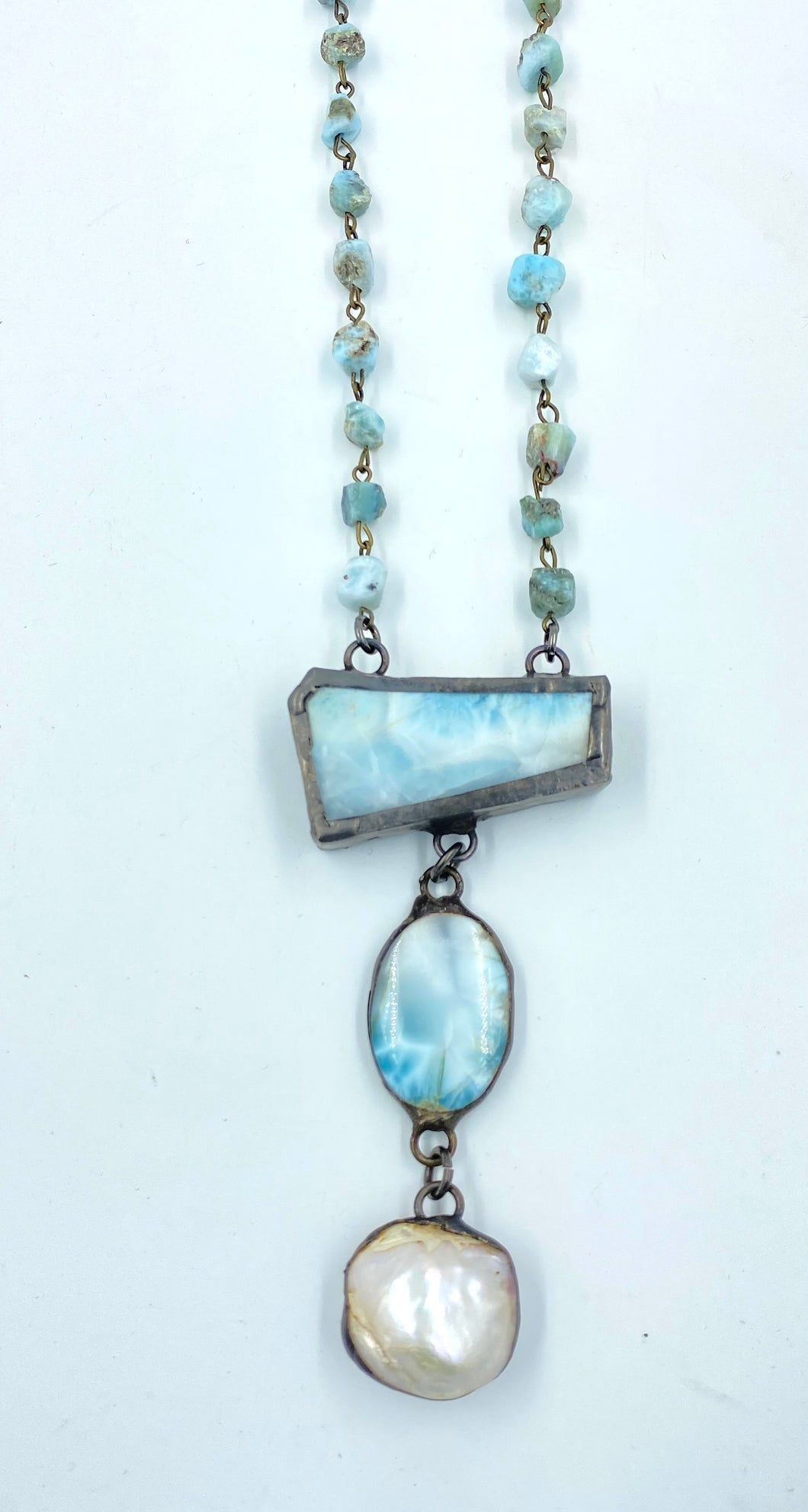 Larimar Necklace with Larimar and Pearl Drop