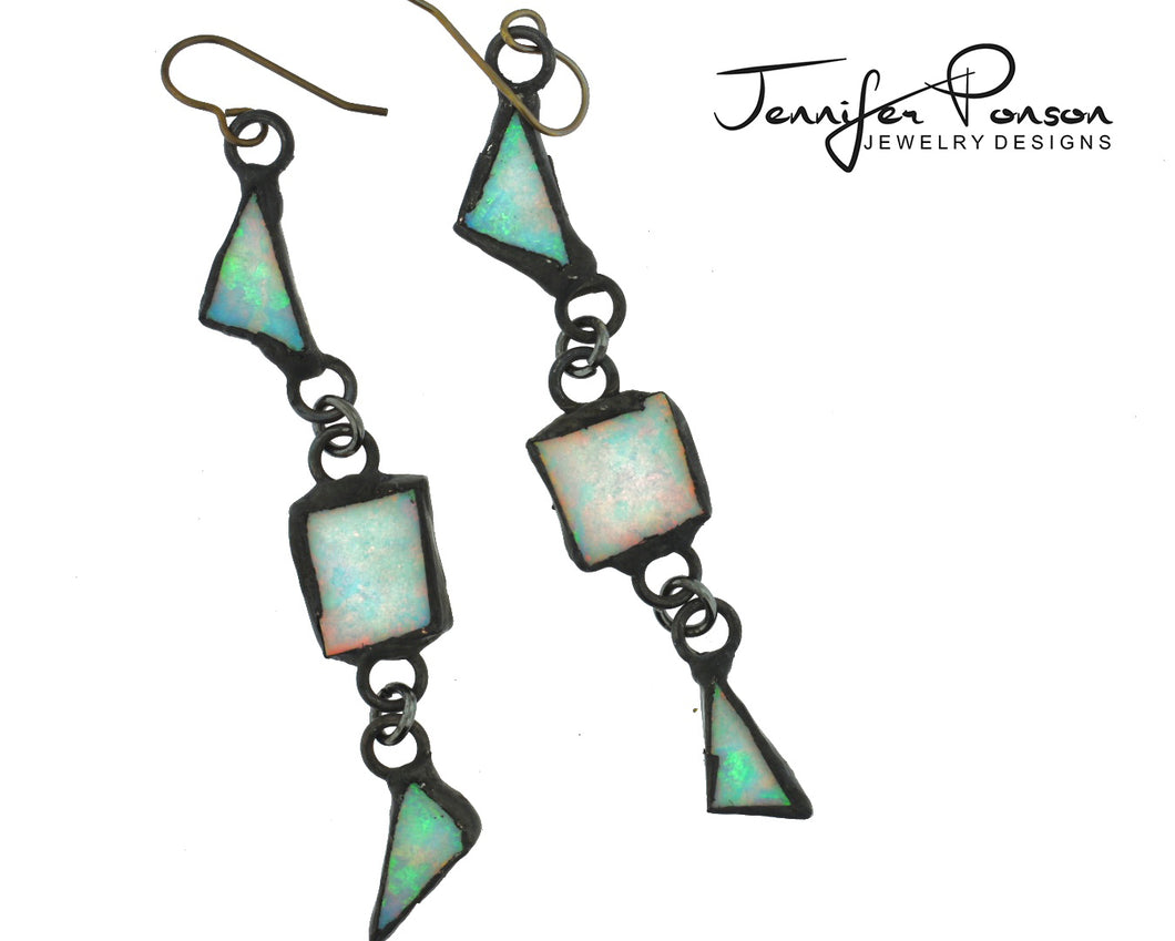 Opal Geometric Drop Earrings