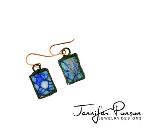 Purple and Blue Square Monarch Opal Earrings
