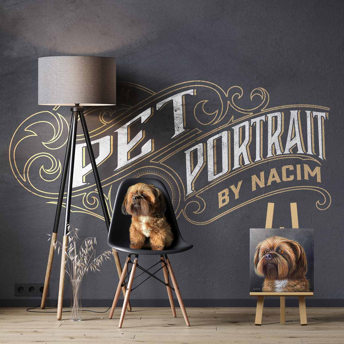 Custom painting of pet portrait in acrylics on gallery wrapped canvas created by Nacim Ruintan-Tehrani. The image shows the artist's dog, Leo, sitting in a chair, waiting for his portrait to be done. Commissioned artworks accepted.
