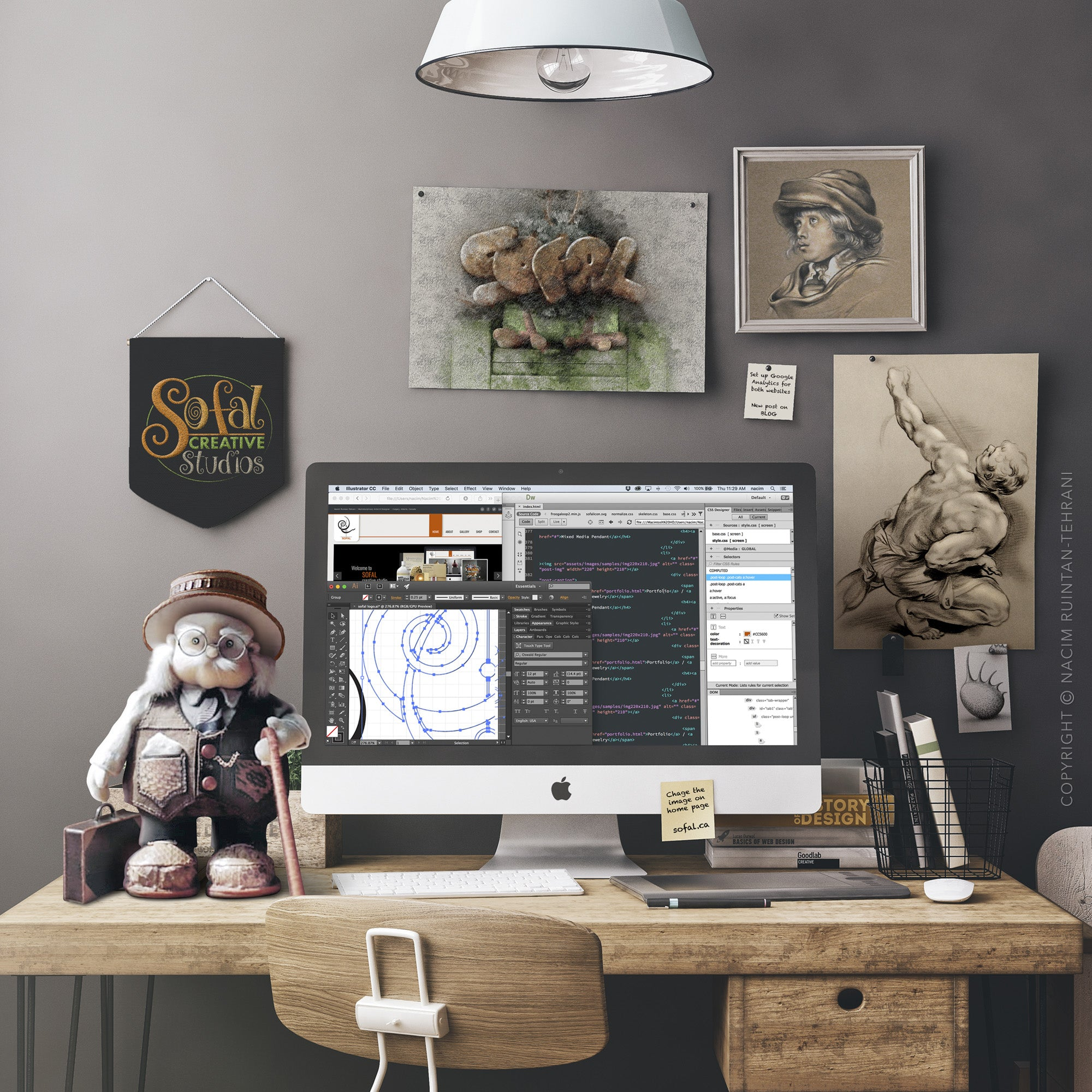 The professor, original mixed media sculpture by artist Nacim Ruintan-Tehrani, shown on a desk along with a computer and a few other items. There are a few original drawings on the wall behind the desk.
