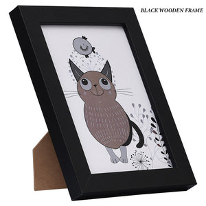 Black White Wood Color Picture Photo Frame A4 A3 Wooden Frame Nature Solid Simple Wooden Frame Wall Mounting Hardware Included