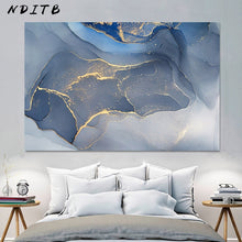 Load image into Gallery viewer, Marble Texture Abstract Poster Gold Blue Wall Art Print Modern Style Canvas Ink Painting Nordic Decorative Picture Home Decor