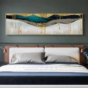 Abstract green shining gold canvas painting Golden pigment poster modern wall art pictures for living room blue print decoration